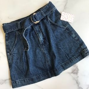 NWT Free People denim retro belted mini skirt